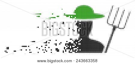 Dissolved Farmer With Pitchfork Dot Vector Icon With Wind Effect. Rectangle Elements Are Arranged In