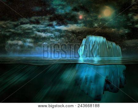 Surreal painting. Iceberg, starry sky. 3D rendering