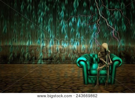 Surreal painting. Alien's skeleton sits on a armchair in pose of thinker. Rain fals down on arid land. 3D rendering