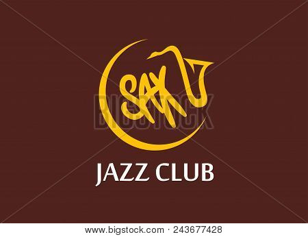 Vector Round Emblem Of Music Jazz Club With Sax Silhouette And Caption. Vector Logo In Flat Style On