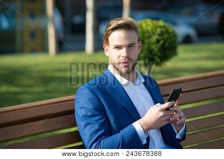 Message Concept. Man Types Message Mobile Phone. Man In Suit Businessman Takes Advantages Of Modern