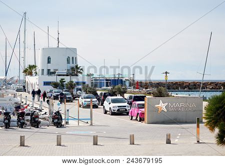 Santa Eulalia, Ibiza Island - April 30, 2018:  Port Of Santa Eulalia. Santa Eulalia Is A Beautiful T