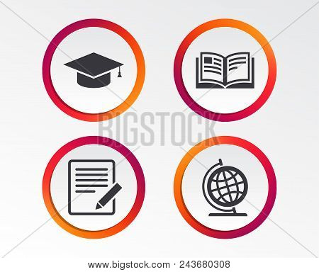 Pencil With Document And Open Book Icons. Graduation Cap And Geography Globe Symbols. Learn Signs. I