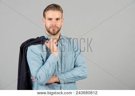 Formal Menswear Concept. Man Bearded Strict Face Wears Formal Clothes, Grey Background. Guy Bearded