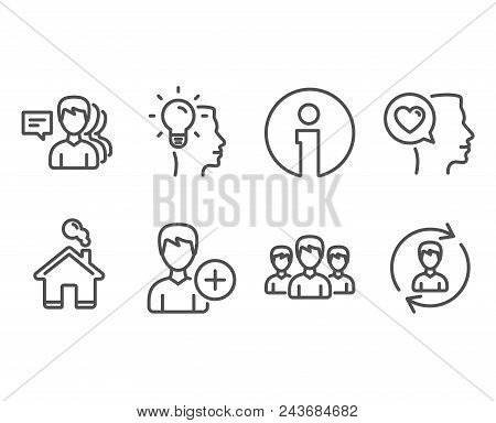 Set Of Group, Add Person And Idea Icons. Romantic Talk, People And Human Resources Signs. Group Of P