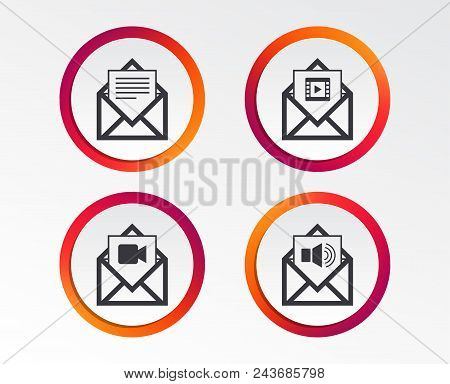 Mail Envelope Icons. Message Document Symbols. Video And Audio Voice Message Signs. Infographic Desi