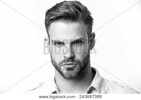 Masculinity concept. Guy bearded and attractive cares about his appearance. Man with beard or unshaven guy looks handsome and well groomed. Man with bristle on confident face, white background. poster