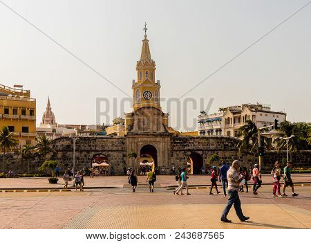 Cartagena, Colombia. April 2018. A View Of The Clock Tower By The Main Entrance Of The Walled City I