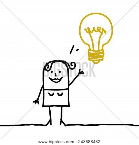 Happy Cartoon Woman With Light Bulb Illustration