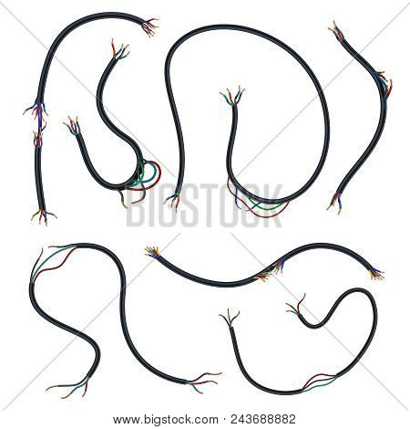 Damaged Electrical Copper Wires And Cords. Disconnect Broken Electric Power Cables Vector Set Isolat