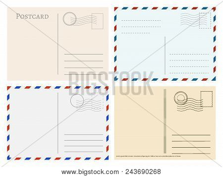 Travel Postcard Templates. Greetings Post Cards Backside Vector Set. Postal Empty Blank For Mail Ill