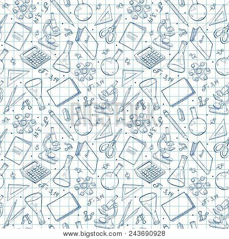 School Doodle Background. Vector Seamless Pattern From School Elements Hand Drawn On Notebook Sheet.