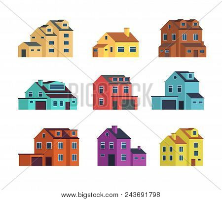 Houses Front View. Urban And Suburban House, Town Buildings, And Cottage Housing. Isolated Vector Il