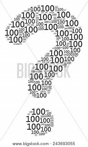 Prompt Shape Made Of 100 Text Elements. Vector 100 Text Icons Are Grouped Into Info Combination.