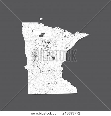 U.s. States - Map Of Minnesota. Hand Made. Rivers And Lakes Are Shown. Please Look At My Other Image