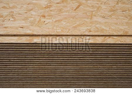 construction wood, osb panel, stacked chipboard planks , plywood  - poster