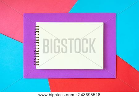 Minimal, Pop Art, Abstract, Vivid Mockup With White Notepad On Bright Red, Pink, Blue And Lilac Back