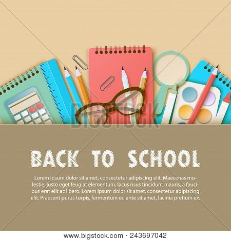 Back To School Paper Art Background With Notebook, Pencil, Ruler And Other School Supplies. Modern O