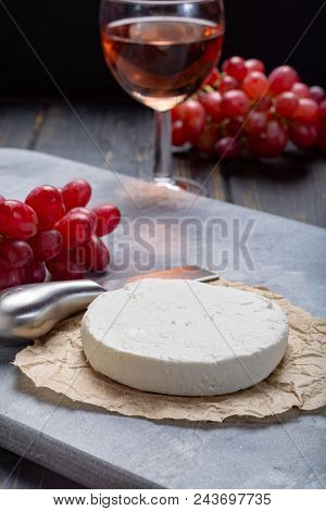 French White Soft Goat Cheese Served With Rose Wine