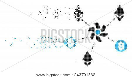 Dissolved Cryptocurrency Mixer Rotor Dotted Vector Icon With Erosion Effect. Rectangle Cells Are Gro