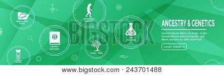 Ancestry / Genealogy Icon Set Web Banner With Family Tree Album, Family Record, Etc
