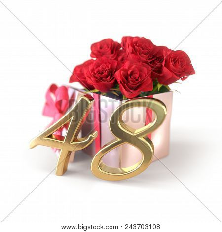 Birthday Concept With Red Roses In Gift Isolated On White Background. 3d Render - Forty-eighth. 48th