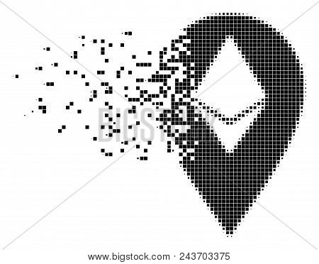 Dissolved Ethereum Marker Dot Vector Icon With Wind Effect. Square Dots Are Combined Into Disappeari