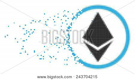 Fractured Ethereum Rounded Dotted Vector Icon With Wind Effect. Rectangle Dots Are Grouped Into Disa