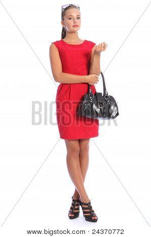 Beautiful Posh Young Woman In Red Dress High Heels