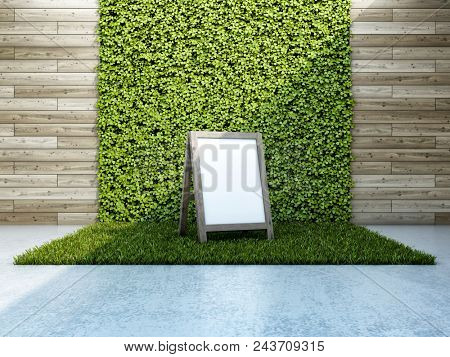 Inner courtyard with vertical garden and notice board. 3D illustration.