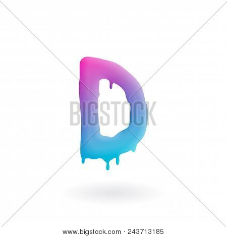 Letter D Logo. Colored Paint Character With Drips. Dripping Liquid Symbol. Isolated Vector