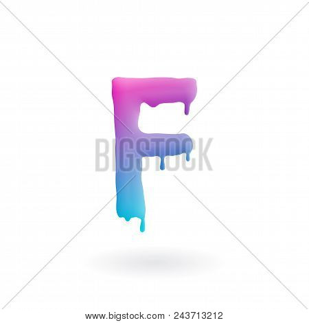 Letter F Logo. Colored Paint Character With Drips. Dripping Liquid Symbol. Isolated Vector