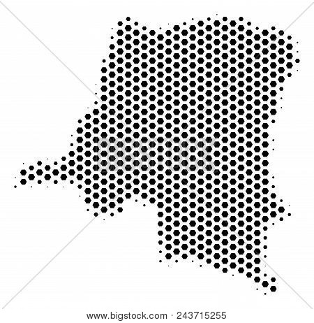 Hex-tile Democratic Republic Of The Congo Map. Vector Halftone Territory Plan On A White Background.