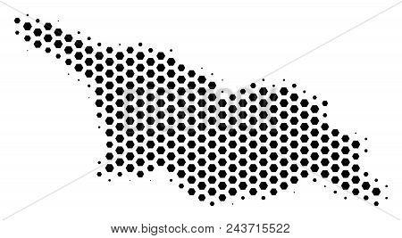 Hexagon Georgia Map. Vector Halftone Territory Scheme On A White Background. Abstract Georgia Map Co