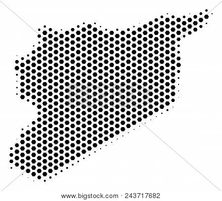 Hex Pixel Syria Map. Vector Halftone Territorial Scheme On A White Background. Abstract Syria Map Co