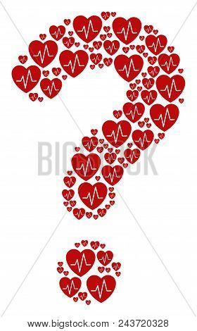Faq Collage Built From Cardiology Components. Vector Cardiology Icons Are Formed Into Question Mark