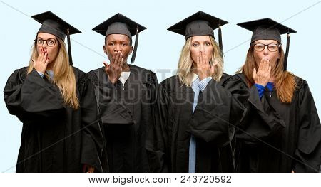 Education concept, university graduate woman and man group covers mouth in shock, looks shy, expressing silence and mistake concepts, scared