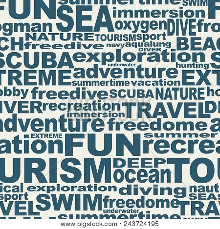 Diving Relative Words Cloud. The Concept Of Sport Diving. Seamless Background