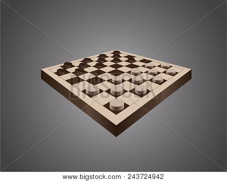 Draughts On Brown Table. Draughts Ready For A Game. Classical Draughts Version In Vector