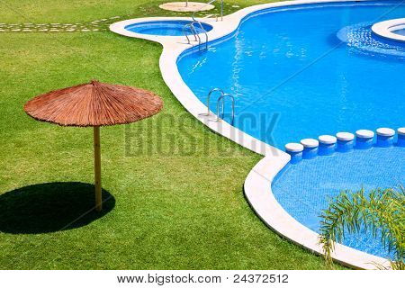 green garden with grass and swimming pool and sunroof