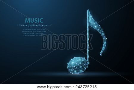 Vector Music Note. Abstract Wire Low Poy Quarter Note Illustration On Dark Blue Background With Star