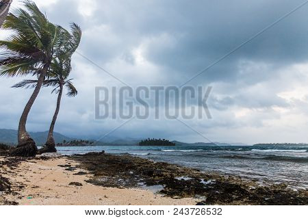 A View Of A Cloudy Day In The San Blas Islands, Panama.