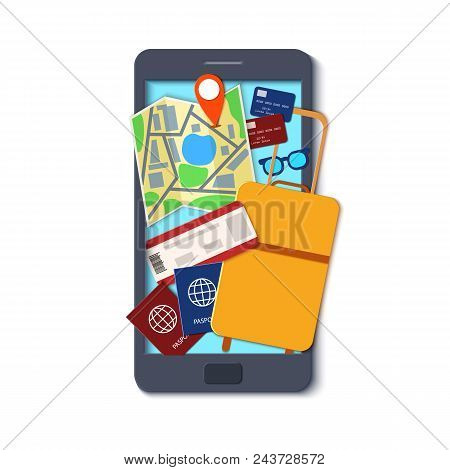 Mobile Phone Template In Paper Cut Style. Smartphone With Things For Travel. Black Craft Flat Phone