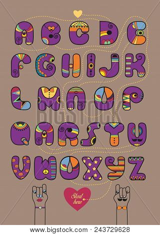 Artistic Alphabet With Encrypted Romantic Message You Are Not Bad. Cartoon Purple Letters With Brigh
