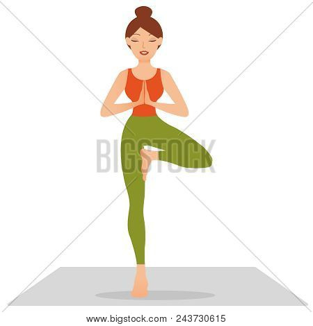 Sports Girl Is Smiling While Doing Yoga. Young Woman Doing Yoga Exercise Tree-pose. Young Woman Medi