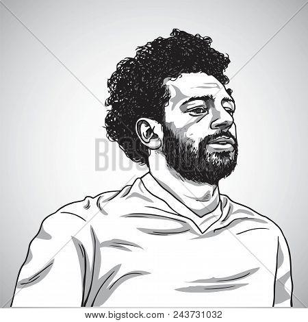 Drawing Of Mo Salah Vector Portrait Cartoon Caricature Illustration. June 5, 2018