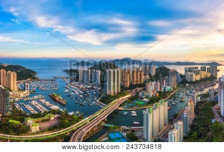Panoramic Aerial View Of The Aberdeen Harbour (aberdeen Typhoon Shelter) And Ap Lei Chau Bridge In H