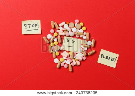 Medication White Colorful Round Tablets Arranged Abstract On Red Color Background. Aspirin, Capsule