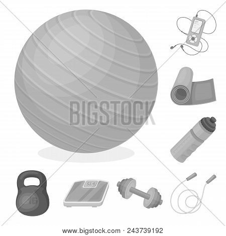 Gym And Training Monochrome Icons In Set Collection For Design. Gym And Equipment Vector Symbol Stoc
