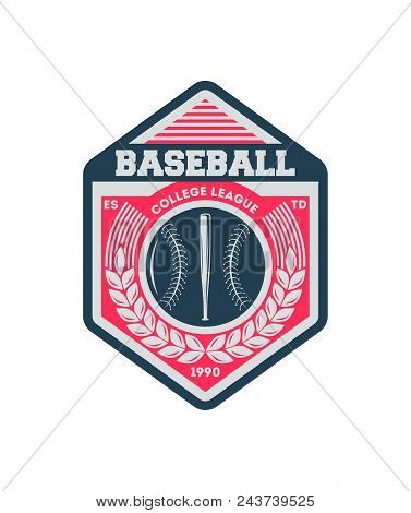 Baseball College Society Vintage Isolated Label. Sport Competition Symbol, Athletic Camp Sign, Team
